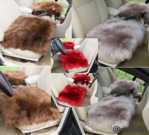 Fashion Soft Warm Car Seat Covers Genuine Winter Long Sheep Wool Chair Cushion
