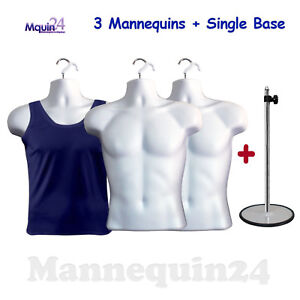 3 Pack White Male Torsos 3 Hangers 1 Stand Men Dress Form Mannequin