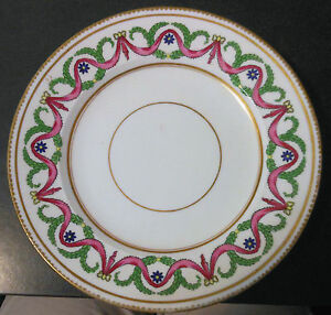 C1880 Hand Painted Crown Staffordshire 9 Plate For Goode Co London Uk