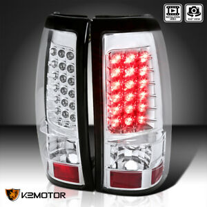 For 2003 2006 Chevy Silverado Gmc Sierra Clear Led Brake Lamps Tail Lights Pair