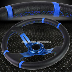 3 5 Deep Dish Blue Spoke Stripes Lightweight 6 Bolt Racing Steering Wheel