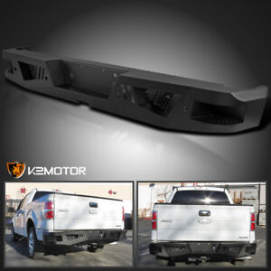 Fit 2006 2014 Ford F150 Black Heavy Duty Hd Steel Rear Step Bumper Face Bar
