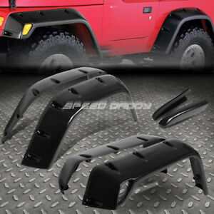 For 97 06 Jeep Wrangler 7 Textured Black Pocket Riveted Wheel Fender Flares