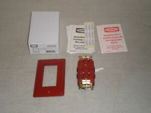 New Hubbell Gfrst83r Gfci 20a 125v Red Hospital Grade Ground Fault Interrupter