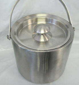 Stainless Steel Ice Bucket 3l 0 8 Gallon Double Wall With Snap Tight Lid New