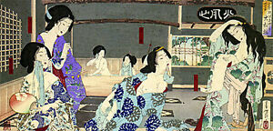 Women Bathing 22x30 Japanese Art Print By Yoshitoshi Asian Art Japan