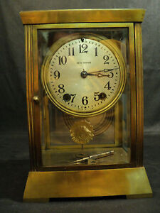 Antique Seth Thomas Empire Brass Crystal Regulator Clock Unusual Pendulum