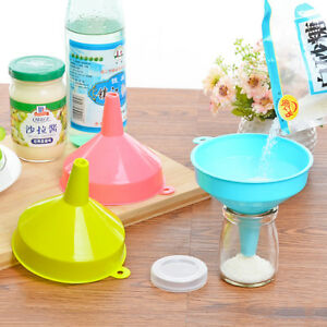 Durable Colorful Plastic Funnel For Liquid Oil Powder Kitchen Tool SML Size