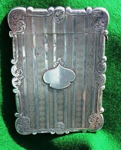 Antique Victorian Hallmarked Silver Card Case By Edward Smith Of Birmingham 1852