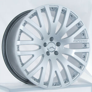Set Of 22 Stagger Hyper Silver Marcellino Wheels Rims Fits Mercedes Benz Sedan