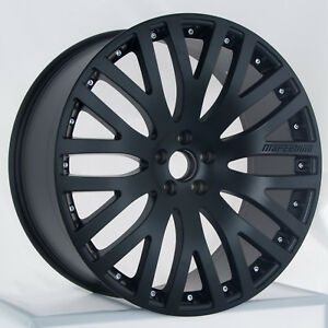 Set Of Staggered 22 Matte Black Marcellino Wheels Rims Fits Bentley
