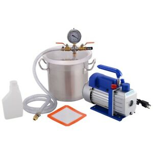2 Gallon Vacuum Chamber 3 Cfm Pump Resin Oil Extractor Degassing Silicone Kit