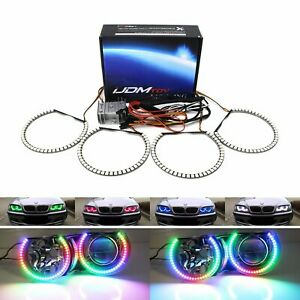 Rgbw Color Led Angel Eyes Halo Rings For Bmw E46 3series 07 14 Silverado Sierra