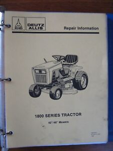 Deutz Allis Chalmers 1814 1816 1817 Lawn Tractor Service Repair Manual
