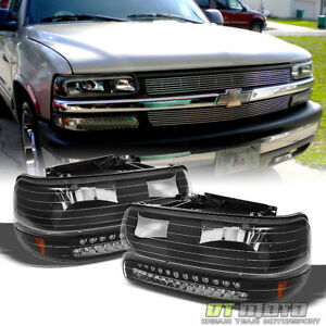 Black 1999 2002 Chevy Silverado 00 06 Suburban Tahoe Headlights led Bumper Lamps