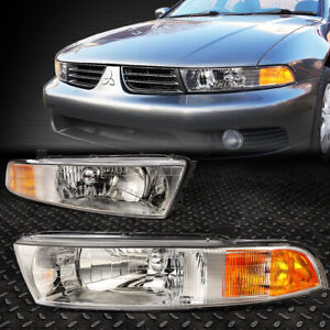 For 1999 2003 Mitsubishi Galant Chrome Housing Amber Corner Headlight Lamp Set