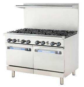 Radiance 48 Commercial Gas Range 2 Std Ovens 4 Burners 24 Griddle