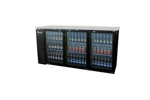 Migali C bb72g Migali 72 3 Glass Door Back Bar Cooler