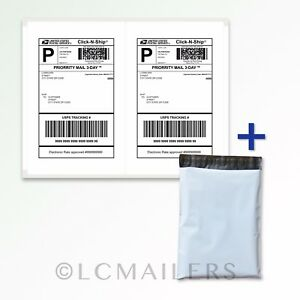 200 10x13 Poly Mailers Shipping Envelopes Bags And 1000 8 5x5 5 Shipping Labels