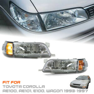 Front Chrome Headlight Clear Lens Fit Toyota Corolla Ae100 Ae101 E100 1993 97