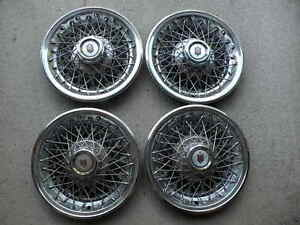 Vintage Set Of 4 Wire Hubcaps Wheelcovers Norris Industries 1976 14 Chevy