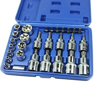 New 29pcs Torx Socket Bit Set 1 4 3 8 1 2 Chrome Vanadium Bright Chrome