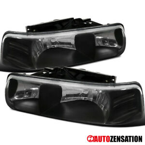 For 1999 2002 Silverado 2000 2006 Tahoe Suburban Black Headlights Lamps