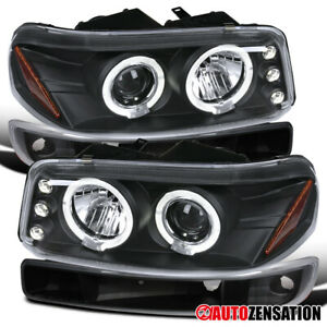 00 06 Gmc Sierra Yukon Xl Black Dual Halo Projector Headlight Pair Bumper Lights