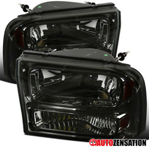 1999 2004 Ford F250 F350 2000 2004 Excursion Smoke 1pc Style Headlights Lamps