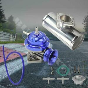Blue Adjustable Type Rs Blow Off Valve Polished 2 5 Aluminum Pipe Bov Adapter