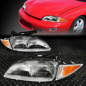 For 1995 1999 Chevy Cavalier Pair Chrome Housing Amber Corner Headlight lamp Set