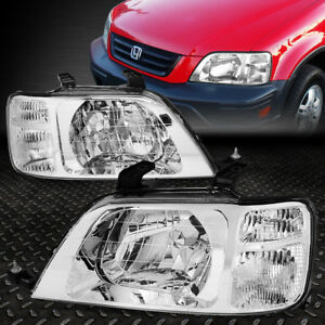 For 1997 2001 Honda Crv Suv Pair Chrome Housing Clear Corner Headlight lamp Set