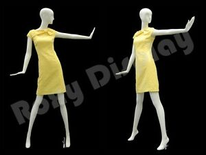 Female Fiberglass Glossy White Mannequin Eye Catching Abstract Style md xd06w