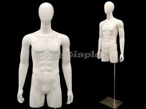 Egg Head Male Mannequin Torso With Nice Body Figure And Arms tmwegs md