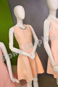Female Fiberglass Matte White Mannequin Egg Head Fake Joints mz abegw1