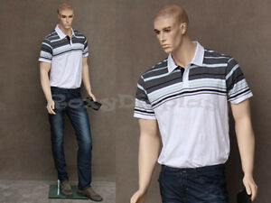 Male Fiberglass Realistic Mannequin With Molded Hair Dress From Display mz wen1