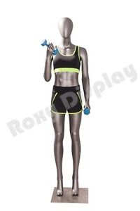 Female Fiberglass Egghead Athletic Style Mannequin Dress Form Display Mc jsw02