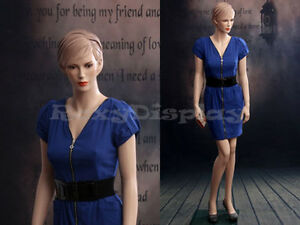 Female Fiberglass Mannequin Beautiful Face With Molded Hair Style mz ad01