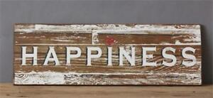 Country New Distressed Wood Wall Sign Happiness