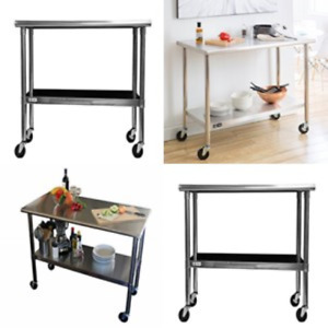 Stainless Steel Table With Wheels Kitchen Garage Rolling Utility Cart Workbench