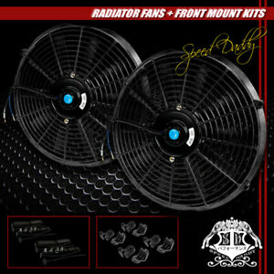 2x14 Universal Performance Pull Push Electric Radiator Cooling Fan Assembly Kit
