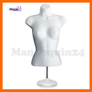 Female Mannequin Torso W Stand White Plastic Dress Form