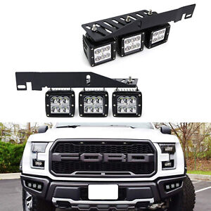 Mega Triple Light 144w Led Fog Lights W Mount Bracket Wiring For 17 Ford Raptor