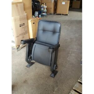 Lot Of 10 Used Reupholstered Movie Theater Chairs In Black Fabric