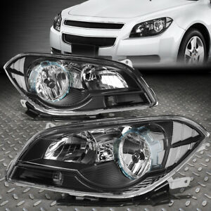 For 08 12 Chevy Malibu Black Housing Clear Corner Headlight Replacement Lamps