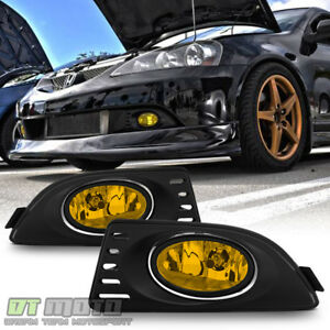 2005 2007 Acura Rsx Dc5 Yellow Bumper Fog Lights Driving Lamps W Switch bulbs