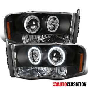 For 2003 2005 Dodge Ram 2500 3500 Black Dual Halo Rim Projector Headlights