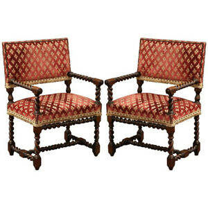 Barley Twist Chair Pair Of 19th Century French Carved Louis Xiii Armchairs