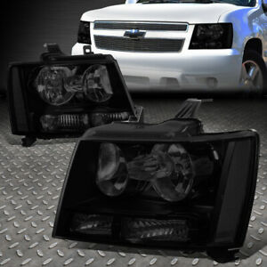 For 07 14 Chevy Tahoe Suburban Pair Tinted Housing Clear Corner Headlight Lamps