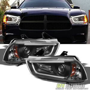 Black 2011 2014 Dodge Charger Drl Led Tube Projector Headlights Headlamps 11 14